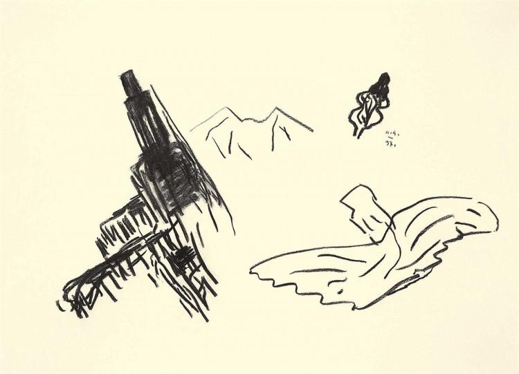 Nostalgije / Nostalgias / Nostalgien, 1997, oglje, papir / charcoal, paper / Kohle, Papier, 57 x 80 cm