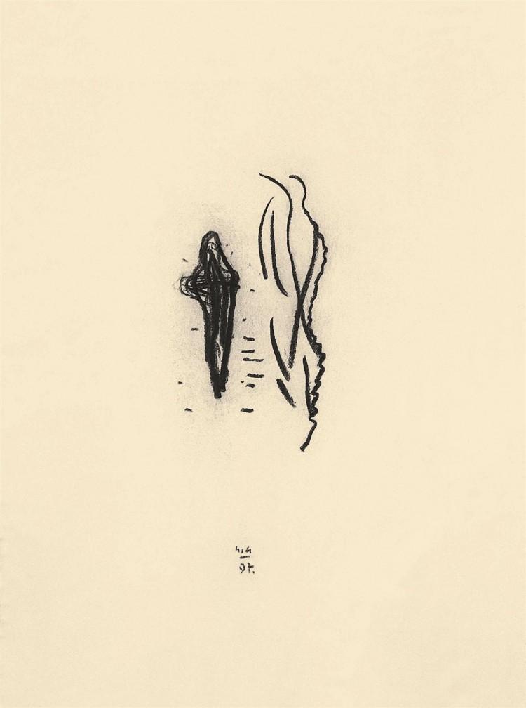 Nostalgije / Nostalgias / Nostalgien, 1997, oglje, papir / charcoal, paper / Kohle, Papier, 67 x 50 cm