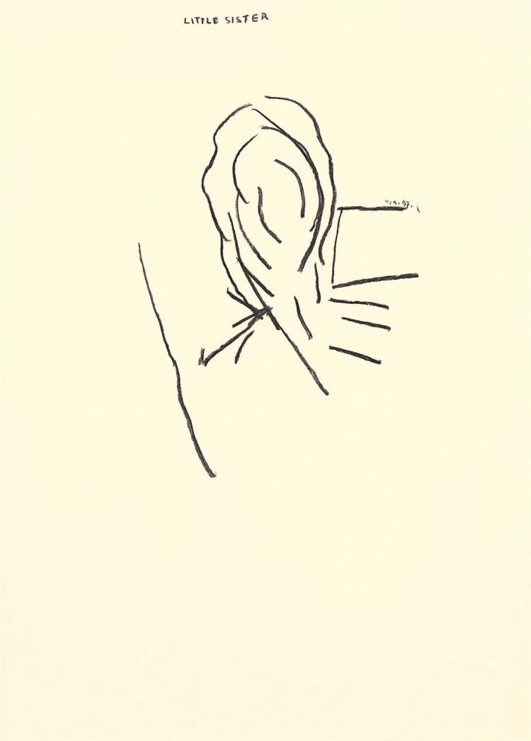 Nostalgije (Pesmi za Nico – Little Sister) / Nostal -gias (Songs for Nico – Little Sister) / Nostalgien (Lieder für Nico – Little Sister), 1997, oglje, papir / charcoal, paper / Kohle, Papier, 79 x 56,5 cm