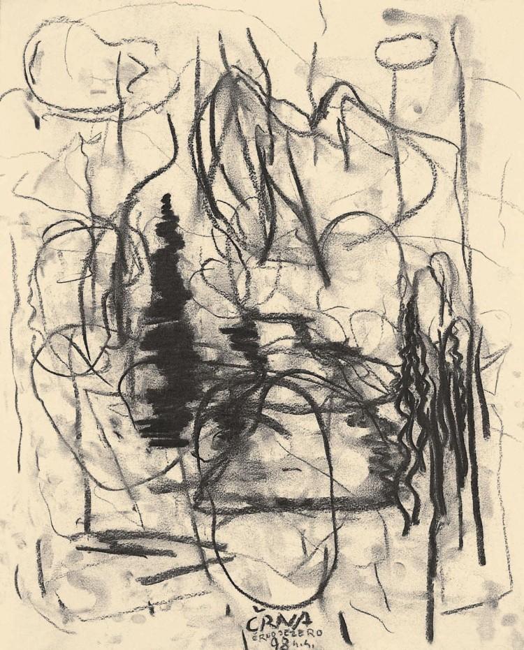 Črna, 1998, oglje, papir / charcoal, paper / Kohle, Papier, 50 x 40 cm