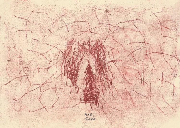 Minjature, 1981, rdeča kreda, papir /red chalk, paper, Rote Kreide, Papier, 42 x 63 cm
