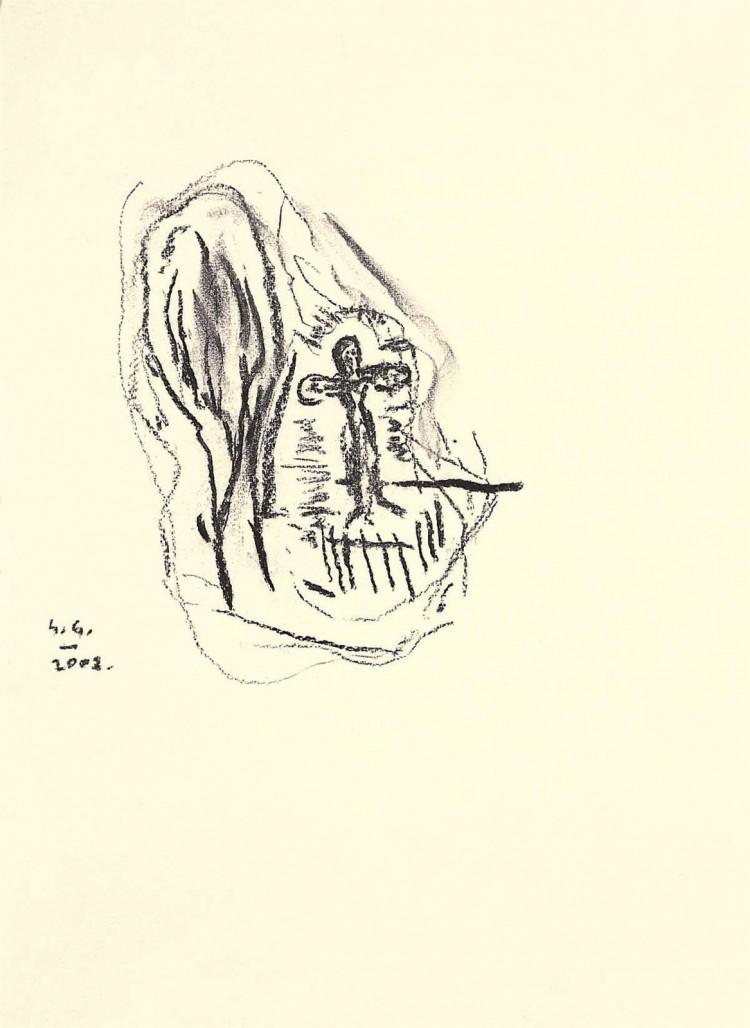 Kolonija Moravske toplice / Moravske toplice Colony / Kolonie Moravske toplice, 2002, oglje, papir / charcoal, paper / Kohle, Papier, 42 x 31 cm
