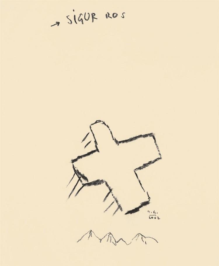 Sigur Ros, 2002, oglje, papir / charcoal, paper / Kohle, Papier, 50 x 40 cm