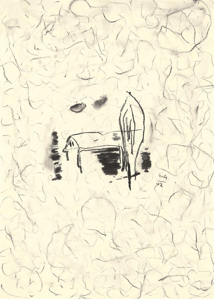 Kolonija Moravske toplice / Moravske toplice Colony / Kolonie Moravske toplice, 2002, oglje, papir / charcoal, paper / Kohle, Papier, 49 x 35 cm