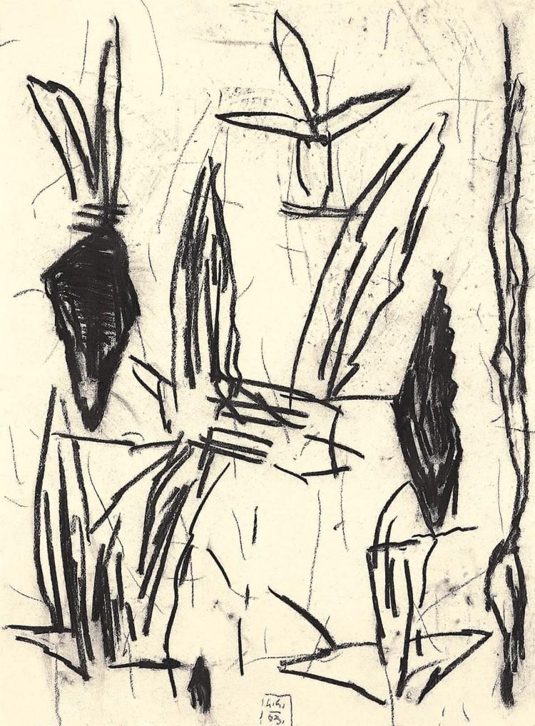 Krajina / Landscape / Landschaft, 2003, oglje, papir / charcoal, paper / Kohle, Papier, 68 x 50 cm