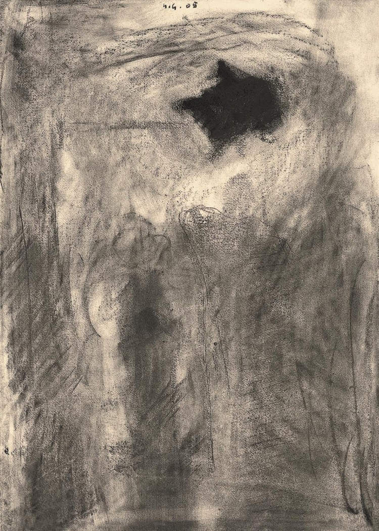 Privid / Hallucination / Täuschung, 2005, oglje, papir / charcoal, paper / Kohle, Papier, 60 x 43 cm