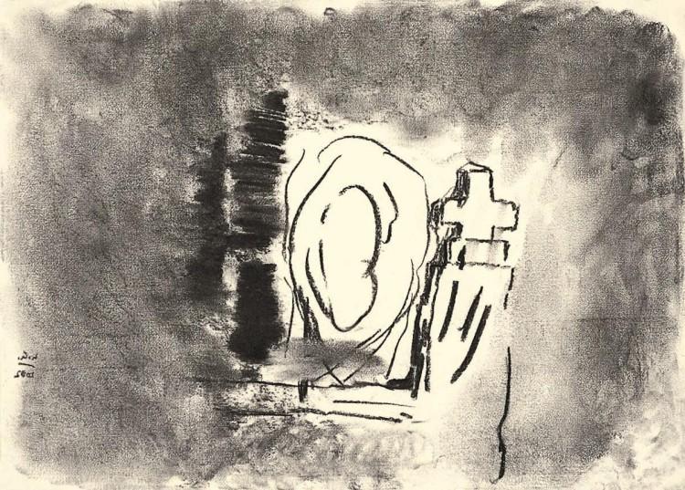 Kolonija Moravske toplice / Moravske toplice Colony / Kolonie Moravske toplice, 2006, oglje, papir / charcoal, paper / Kohle, Papier, 43 x 60 cm