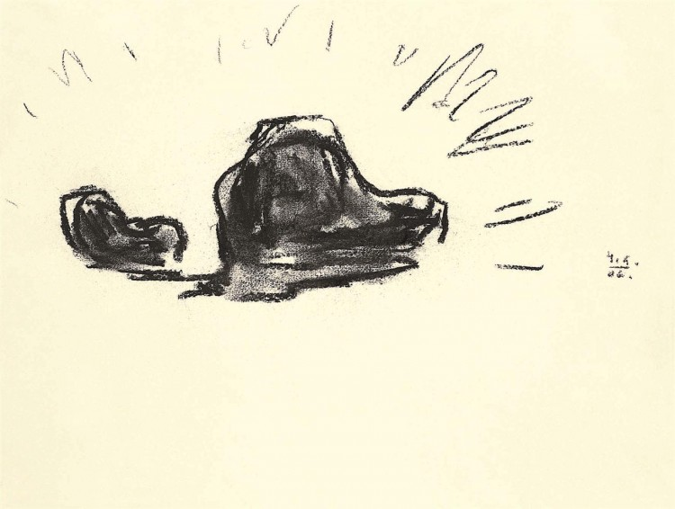Samota / Loneliness / Einsamkeit, 2006, oglje, papir / charcoal, paper / Kohle, Papier, 37 x 50 cm