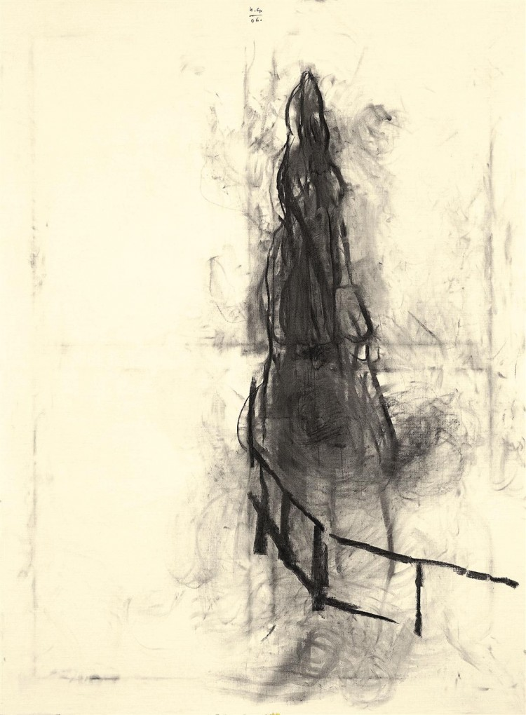 Samota / Loneliness / Einsamkeit, 2006, oglje, papir / charcoal, paper / Kohle, Papier, 190 x 140 cm