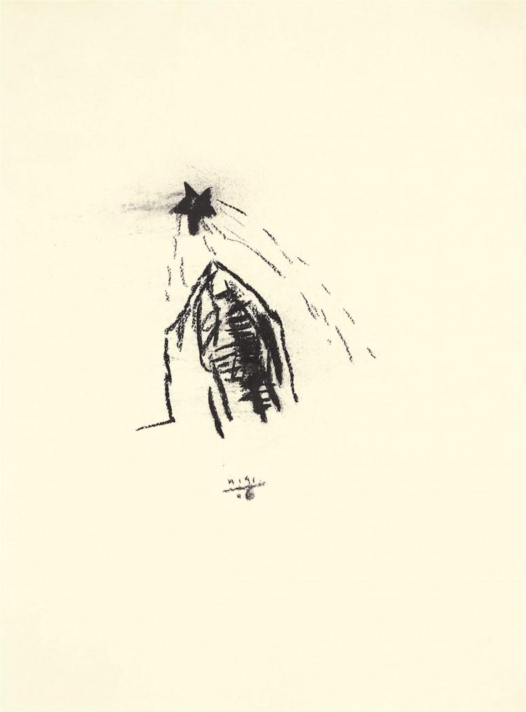 Božič / Christmas / Weihnachten, 2006, oglje, papir / charcoal, paper / Kohle, Papier, 68 x 51 cm