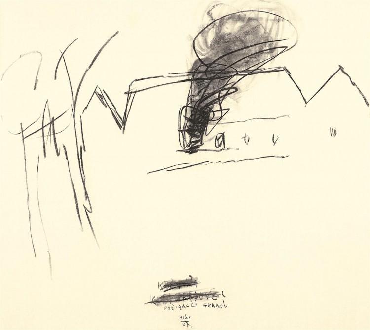 Krajina / Landscape / Landschaft, 2007, oglje, papir / charcoal, paper / Kohle, Papier, 167 x 188 cm