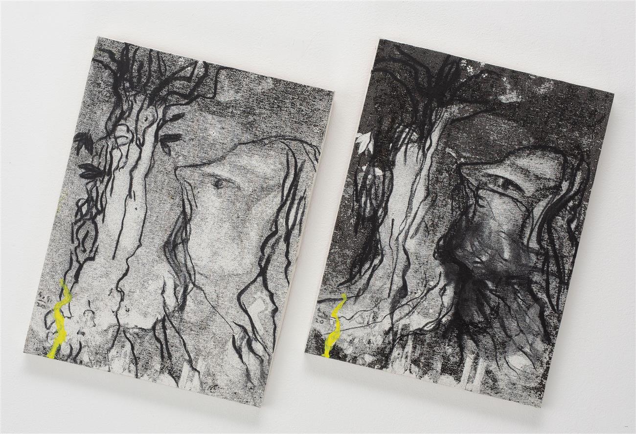 Portret COVID 2020, ogle na platno, diptih, 40x30cm