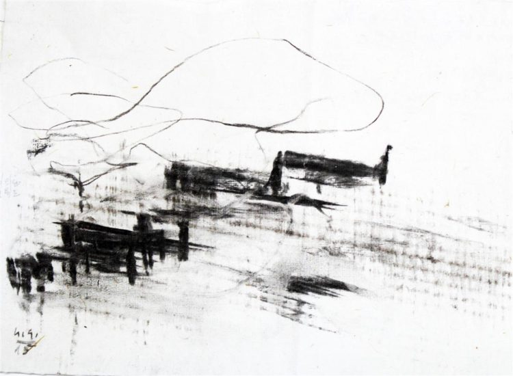 Skumavčevi dnevi, oglje na papir, 21x30cm, 2015