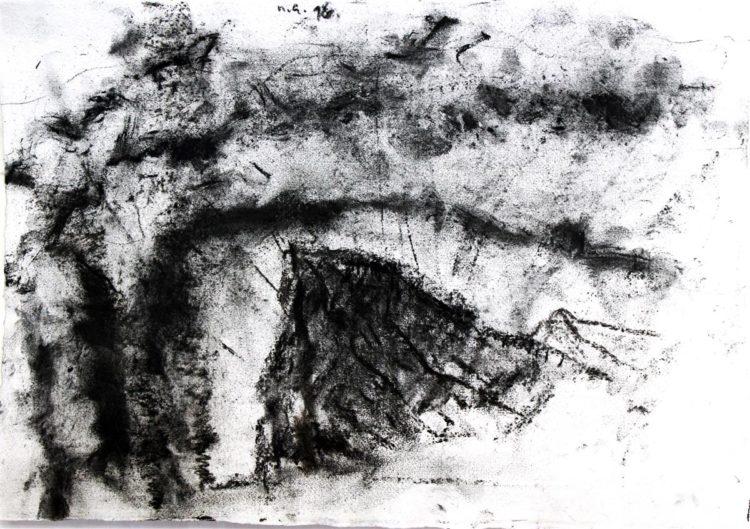Klif za Hieronima, oglje na papir, 2017